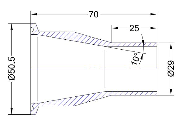 Tri-Clamp-Stutzen aus einem Stück gedreht mit abreduziertem Schweißende